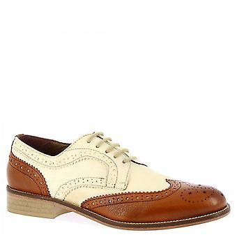 Leonardo Sko Kvinner's håndlagde oxfords brogues sko tan hvit geit skinn