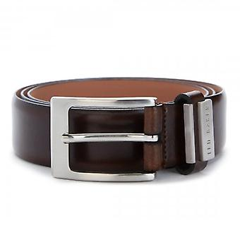 Ted Baker Bilding Branded Leather Belt Brown