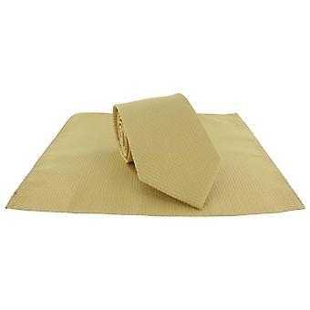 Impostare Michelsons di Londra Semi pianura cravatta e fazzoletto da taschino - oro
