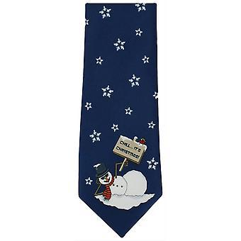 Michelsons av London jul snögubbe Polyester slips - Navy