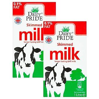 2 x 1 L Long Life UHT Skimmed 0.1% Fat Milk Healthy Lifestyle