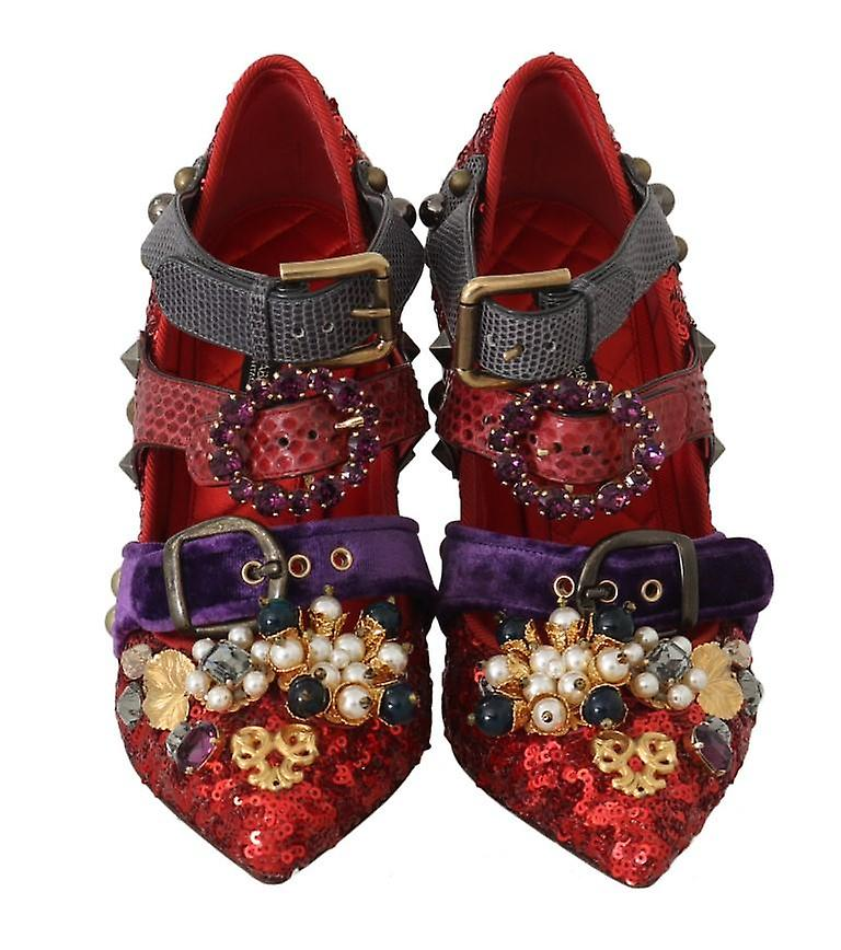 Dolce & Gabbana Red Sequined Crystal Studs Heels Shoes LA5364-36