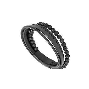 31MADISON Zwart Multi Leder en Kraal armband