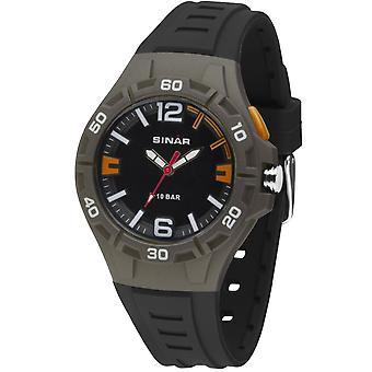 SINAR reloj juvenil reloj de pulsera analógico cuarzo niños banda de silicona XB-37-5 gris naranja