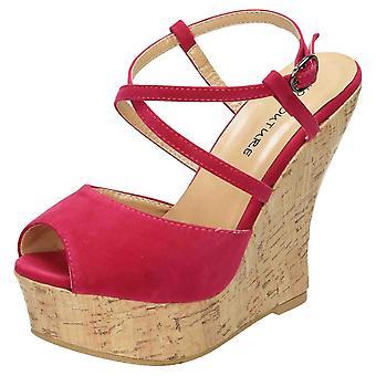 Koi Footwear Peep Toe Shoes High Heel Platform Wedge Sandals Strappy