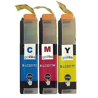 1 Conjunto de cartuchos C/M/Y para substituir o Irmão LC3217 Compatível/não-OEM por Go Inks (3 tintas)