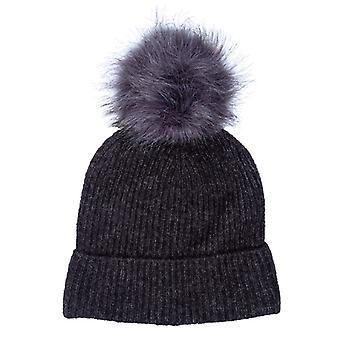 Accessories Only Simma Pom Pom Beanie Hat in Grey