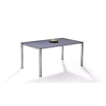 Acier inoxydable Table à manger verre de granit, extensible (160/220)