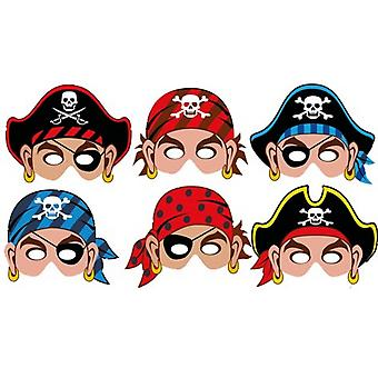 12 Pirate Printed Card Masks for Kids Parties
