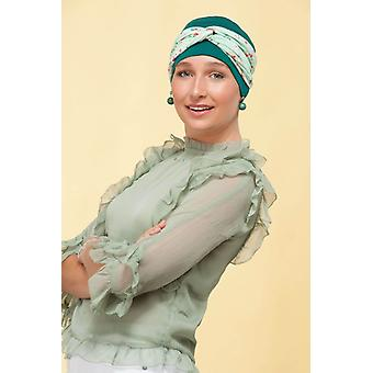 Headwear de quimioterapia macia - Ella Green Forest Flower