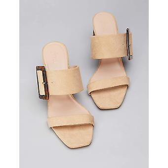 Brand - find. Women's Large Buckle Block Heel Sandal Beige), US 9