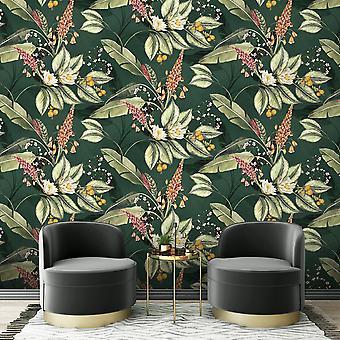 Paradise Garden Floral Wallpaper Green Belgravia 6601