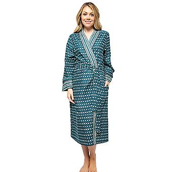 Cyberjammies Elena 4571 Women's Teal Blue Geometric Print Long Robe