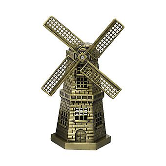 Vintage Metal Windmill Model Ornaments Cyan