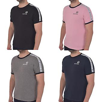 Serigo Tacchini Mens Dalhoa Casual Short Sleeve Crew Neck Taped T-Shirt Top Tee