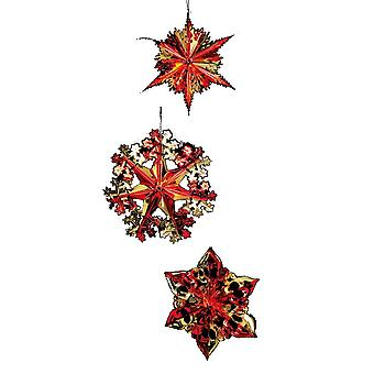 Premier Foil Starbursts Christmas Decorations (Pack of 3)