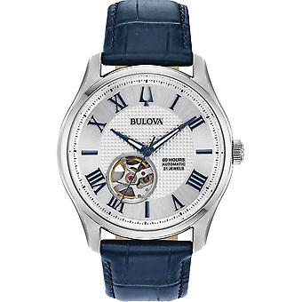 Bulova 96A206 Automatisk mekanisk blå rem armbåndsur