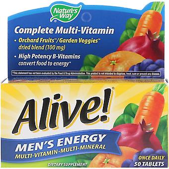Natur's Way, Levande! Män's Energi, Multivitamin-Multimineral, 50 Tabletter