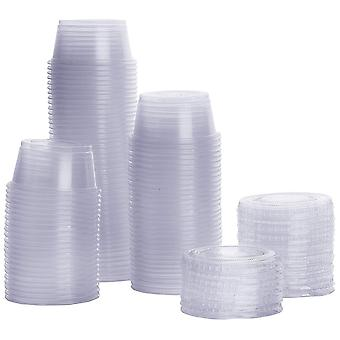 100PCS Disposable Round Plastic Cup with Lid Transparent White