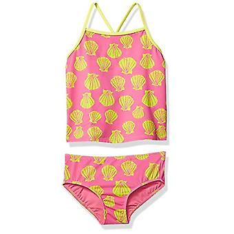 Brand - Spotted Zebra Girls' Tankini Swimsuit, Pink Shells, Medium (8)