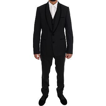 Dolce & Gabbana Siyah Yün Streç Slim Fit 3 Parça Takım KOS1112-1