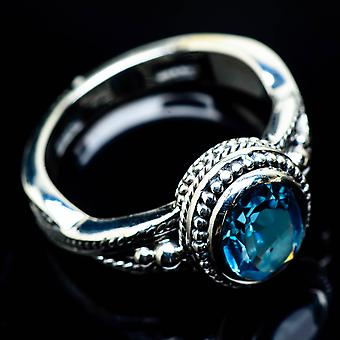 Blue Topaz Ring Size 7 (925 Sterling Silver)  - Handmade Boho Vintage Jewelry RING24775