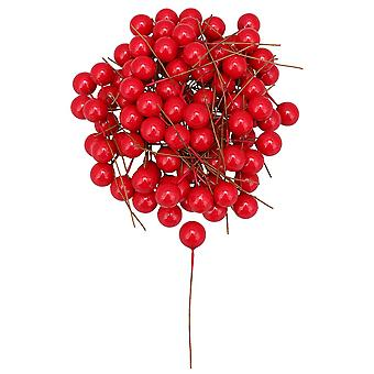 100PCS 12MM kontor dekoration bold kunstig skum bær kirsebær rød