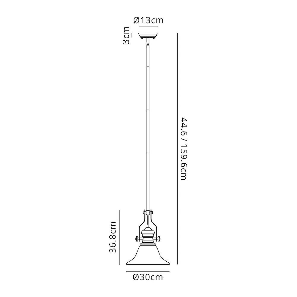 Telescopic Dome Ceiling Pendant E27 With 30cm Smooth Bell Glass Shade, Antique Brass, Clear