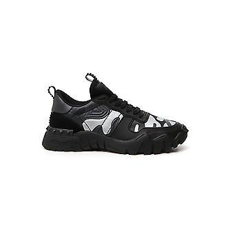 Valentino Garavani Uy2s0c88mhb33x Heren's Zilver/zwarte Stoffen Sneakers