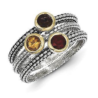 925 sterling zilveren antieke finish Flash Gold-geflitst met 14 k Gemstone 3 stapelbare ringen-ring grootte: 6 tot en met 8