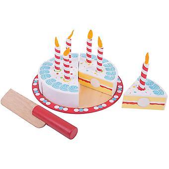 Bigjigs Hračky Dřevěný narozeninový dort se svíčkami