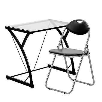2 Piece Computer Desk and Chair Set - Glass Top - Black/Black
