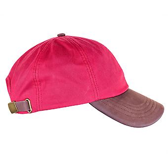 ZH009 (RED   ONE SIZE ) Hamilton Wax Leather Peak Baseball Cap