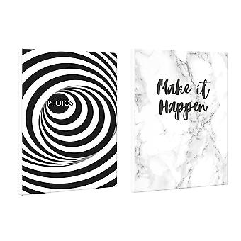 Teai Twin Pack Marble & Monochrome Spiral Design Mini Pocket Photo Album  4x6