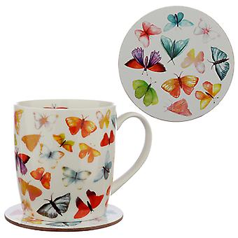 Porcelain Mug and Coaster Gift Set - Butterfly House X 1 Pack
