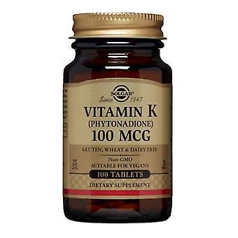 """סולגאר ויטמין K, 100 מק""""ג, 100 טבליות"""