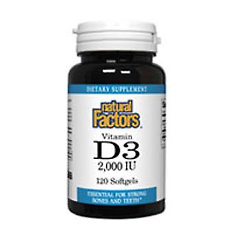 Luonnolliset tekijät D3-vitamiini, 2000 IU, 120 Sgels