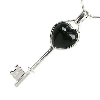 Cavendish francés plata y ágata negra corazón clave colgante sin cadena