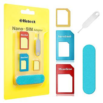 Helect sim card adapter, 5-in-1 nano & micro sim card adapter, kit converter with polish chip and ej
