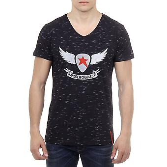 Andrew Charles Men T-Shirt V-Neck Negru