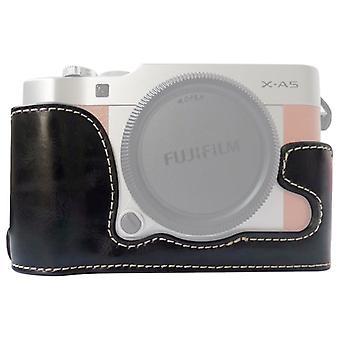 FUJIFILM X-A5 / X-A20 (Siyah) için 1/4 inç İplik PU Deri Kamera Yarım Kasa Tabanı