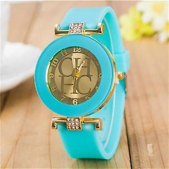 Simple Leather Geneva Quartz Watch, Women Crystal Silicone Watches