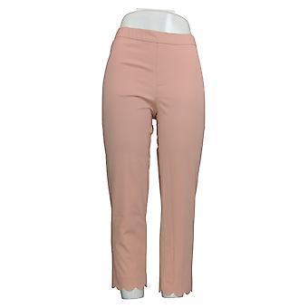 Isaac Mizrahi Live! Mujeres's pantalones stretch Crop W / Scallop Hem Rosa A307992