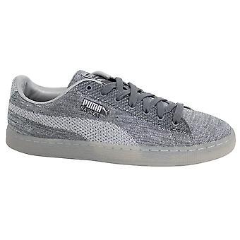 Puma Basket Knit Metallic Silver Mens Lace Up Trainers 363087 01 B33A