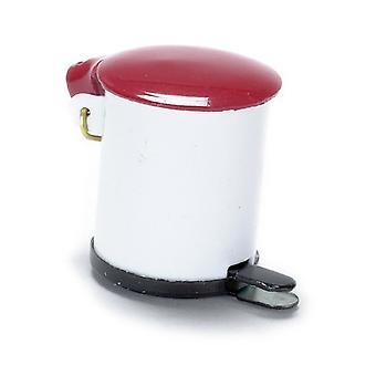 Puppen Haus Miniatur 01:12 Maßstab Küche Zubehör rot & weiß Metall Pedal Bin