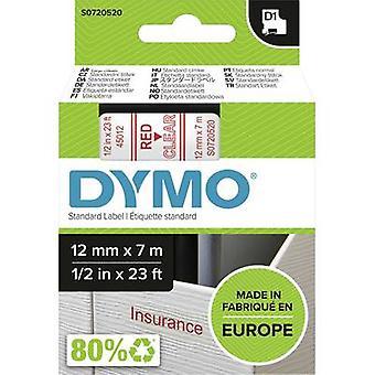 Merkintöjä nauha DYMO D1 45012 nauhan väri: läpinäkyvä fontin väri: punainen 12 mm 7 m