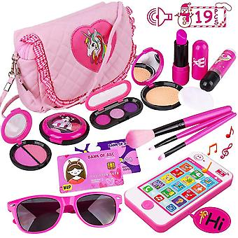Pretend play makeup set 19pcs - fake cosmetic toys kit with pink purse, smartphone, sunglasses, birt