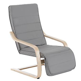 HOMCOM Wooden Lounging Chair Deck Relaxing Recliner Lounge Seat w/Adjustable Footrest & Removable Cushion, Light Grey
