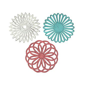 Set of 3 Cast Iron Floral Bloom Kitchen Trivets Decorative Wall Hangings Geometric Patterns