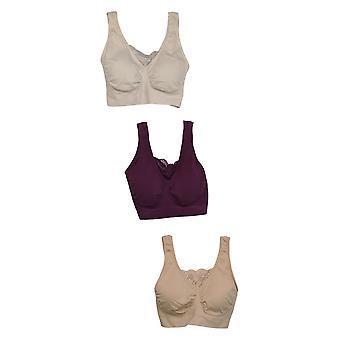Rhonda Shear B Pack de 3 algodón Mezcla Ahh Sujetador W/ Encaje Insertado Púrpura 679-482